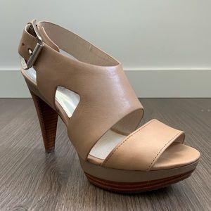 Michael Kors Carla Platform Heels in Taupe Leather